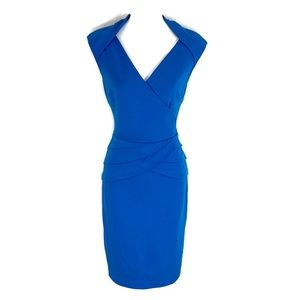 Cache blue faux wrap stretch bodycon dress